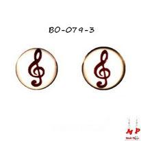 Boucles d'oreilles rondes logo clé de sol noire en acier chirurgical