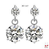 Boucles d'oreilles pendantes à strass ronds blanc cristal