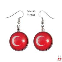 Boucles d'oreilles pendantes drapeau de la Turquie en verre