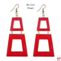 Boucles d'oreilles pendantes double trapèzes rouges et dorés
