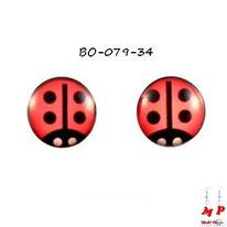 Boucles d'oreilles rondes logo coccinelles rouges à points noirs en acier
