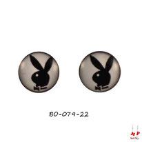 Boucles d'oreilles puces rondes Playboy noir et blanc