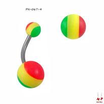Piercing nombril à boules acryliques rasta
