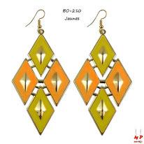 Boucles d'oreilles pendantes losanges jaunes et dorés
