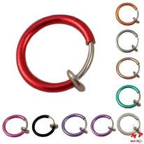 Faux piercings anneaux pour lèvres, labrets, nez et oreilles 10 couleurs