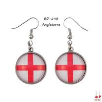 Boucles d'oreilles pendantes cabochons en verre drapeau de l'Angleterre