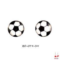 Boucles d'oreilles puces rondes logo ballon de foot
