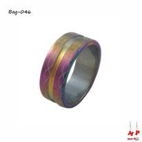 Bague anneau arc-en-ciel modèle infini en acier chirurgical