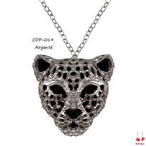 Collier à pendentif tête de léopard argentée et noire sertie de strass