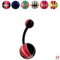 Piercings nombrils bioflex à boules acryliques ballons de basket