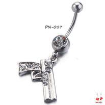 Piercing nombril pendentif gun argenté serti de strass