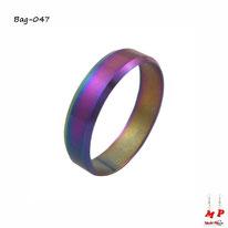 Bague anneau arc-en-ciel essence à reflets colorés en acier inoxydable