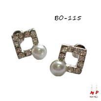 Boucles d'oreilles carrées argentées avec strass et perles nacrées
