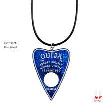 Collier à pendentif planche de ouija en coeur bleu foncé translucide
