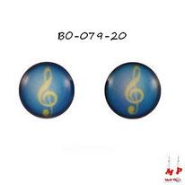 Boucles d'oreilles rondes logo clé de sol jaune et bleue en acier chirurgical