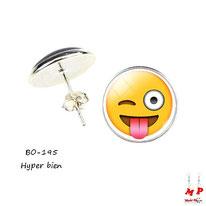 Boucles d'oreilles puces rondes smiley, emoji, émoticône hyper bien sous dôme en verre