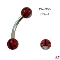 Piercing arcade boules acrylique coccinelles brunes