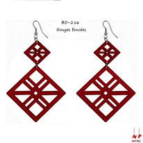 Boucles d'oreilles pendantes double cadres rouges foncés