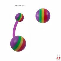 Piercing nombril bioflex violet à boules rasta