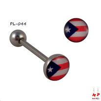 Piercing langue boule plate drapeau de Porto Rico