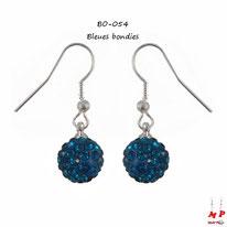 Boucles d'oreilles pendantes shamballa bleues bondies