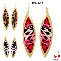 Boucles d'oreilles pendantes créoles dorées ovales léopards tachetées