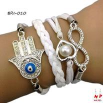 Bracelet infini blanc en similicuir et multi-breloques main de Fatma et coeur perlé