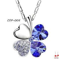 Collier à pendentif trèfle à quatre feuilles et strass bleus foncés