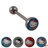 Piercing langue logo Hello Kitty 4 modèles disponibles en acier chirurgical
