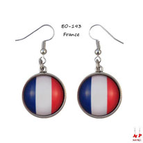 Boucles d'oreilles pendantes cabochons en verre drapeau de la France