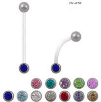 Piercings nombrils de grossesses bioflex à strass 12 couleurs