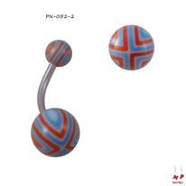 Piercing nombril boules acryliques à quadrillages bleus et rouges