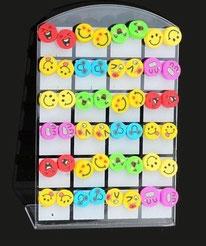 Boucles d'oreilles smiley couleurs 12 modèles en pâte polymère
