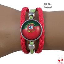 Bracelet drapeau du Portugal en similicuir