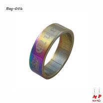 Bague anneau arc-en-ciel et doré QUEEN en acier inoxydable
