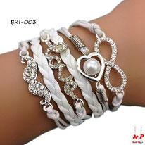 Bracelet infini blanc en similicuir et multi-breloques moustache, love et coeur