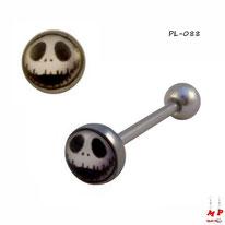 Piercing langue logo à tête de monstre noire et blanche en acier inox