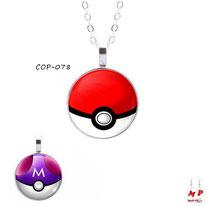 Colliers à pendentifs sur le thème pokemon modèles pokeball ou masterball