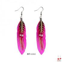 Boucles d'oreilles plumes fuchsia style cheyenne