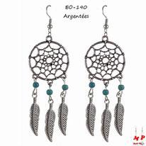 Boucles d'oreilles pendantes attrape rêves argentés et perles turquoise