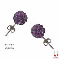 Boucles d'oreilles perles rondes shamballa violettes