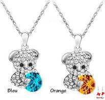 collier à pendentif ours argenté serti de strass et cristal deux couleurs