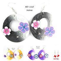 Boucles d'oreilles pendantes rondes pâte fimo et fleurs 3 couleurs