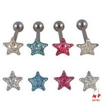 Piercings langue étoiles en acier chirurgical 4 couleurs
