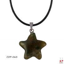 Collier à pendentif étoile en pierre d'agate indienne