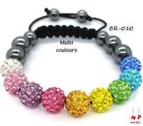 Bracelet shamballa perles multi couleurs