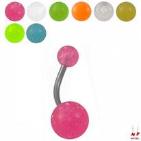 Piercings nombril boules fluorescentes 5 couleurs