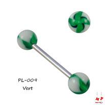 Piercing langue à boules acryliques hélices ou flower twist vertes et blanches