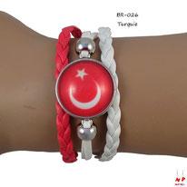 Bracelet drapeau de la Turquie en similicuir