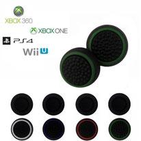 Paires de grips de protections de joysticks noirs à ronds colorés en silicone pour manettes xbox 360 xbox one PS3 PS4 et wii U
